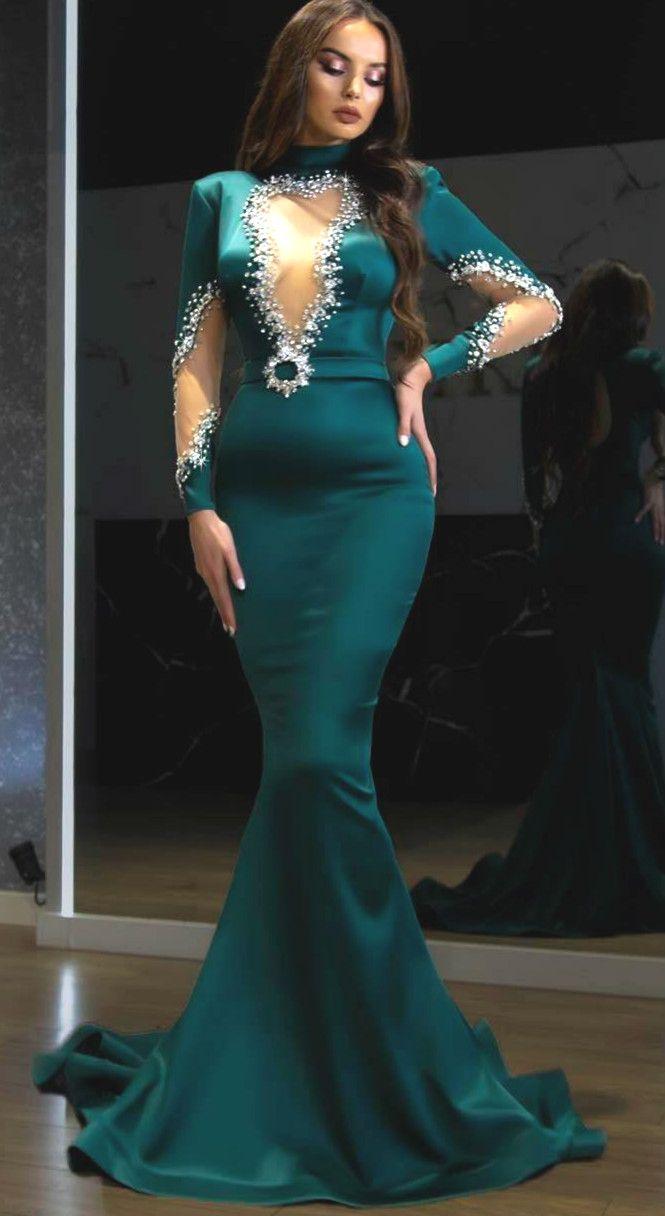 2020 Arabisch Aso EBI Hunter Green Luxuriöse Abendkleider Perlen Kristalle Prom Kleider Mermaid Formale Party Zweiter Empfangskleid ZJ455