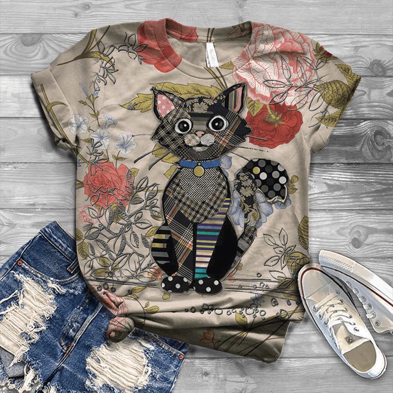 Femmes Cartoon Animal Impression 3D T-shirt 2020 été drôle drôle des t-shirts de vache surdimensionnés lâches Harajuku Streetwear Cat Tops