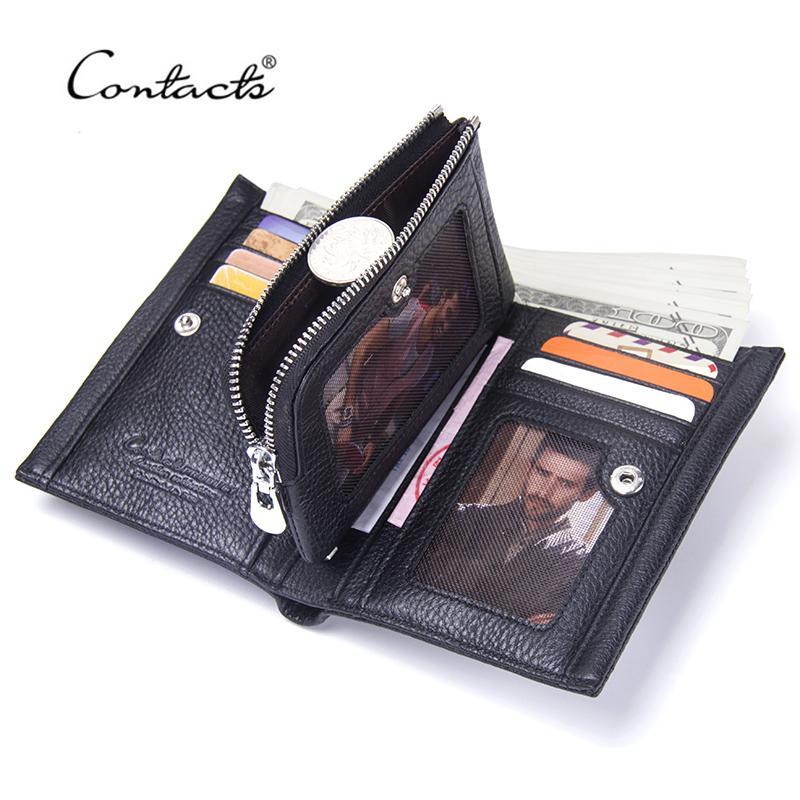 Kontakt Echtes Leder Brieftaschen Rindsleder Männer Kurze Brieftasche Mode Münze Geldbörsen Hohe Qualität Männliche Karten-Foto-Halter