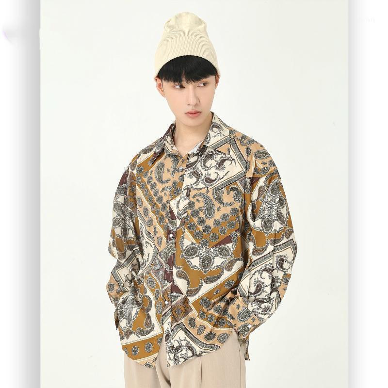 Мужские винтажные рисунки Печать Свободные повседневные с длинным рукавом Цветочная рубашка Мужской ретро мода Уличная одежда хип-хоп рубашка1