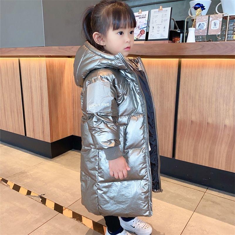 Олекид российские зимние дети девочки вниз куртка с капюшоном длинные серебряные мальчики верхняя одежда 2-12 лет дети девочек девочек Parka 201216