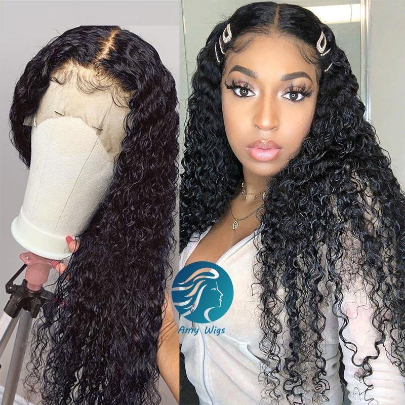 Bleched Knot 150% Brezilyalı Su Dalga Dantel Frontal Kapatma Kıvırcık Dantel Ön İnsan Saç Peruk Öncesi Klumped 13x4 Siyah Kadınlar için Dantel Peruk