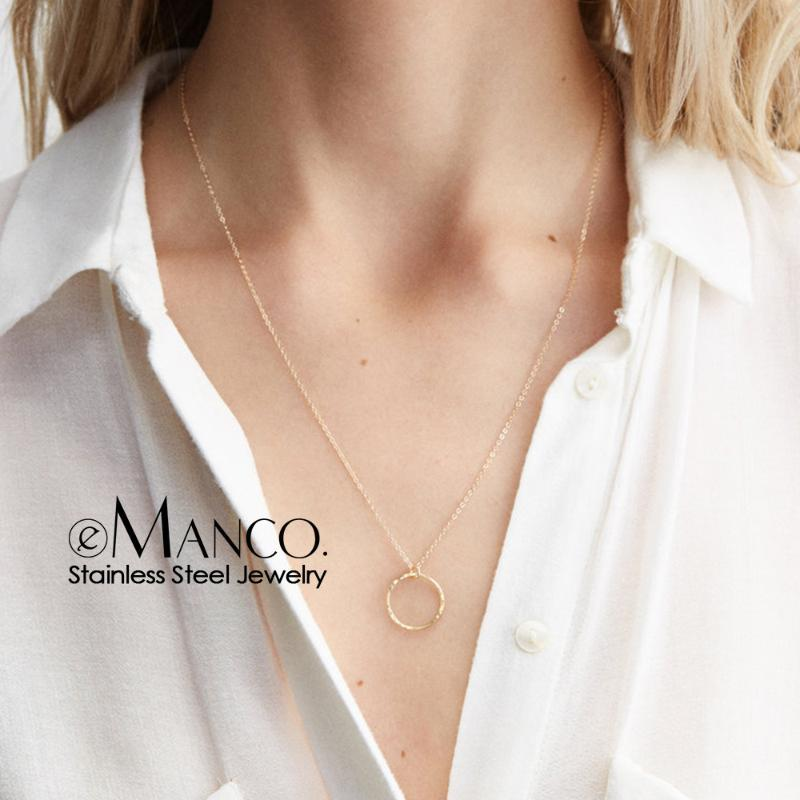 Chokers 316L Stainless Steel Necklace Women Minimalist Pendant Office Style Choker For Fashion Jewelry