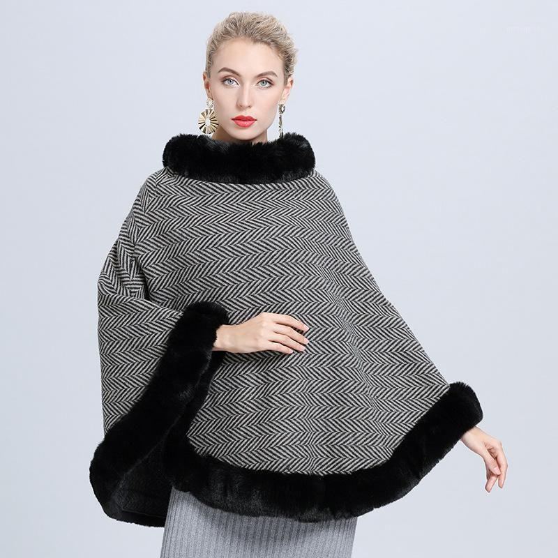 2020 Kış Sıcak Örme O Boyun Faux Kürk Kazak Kadın Pelerin Çizgili Panço Büyük Pendulum Kazak Siyah Kürk Palto