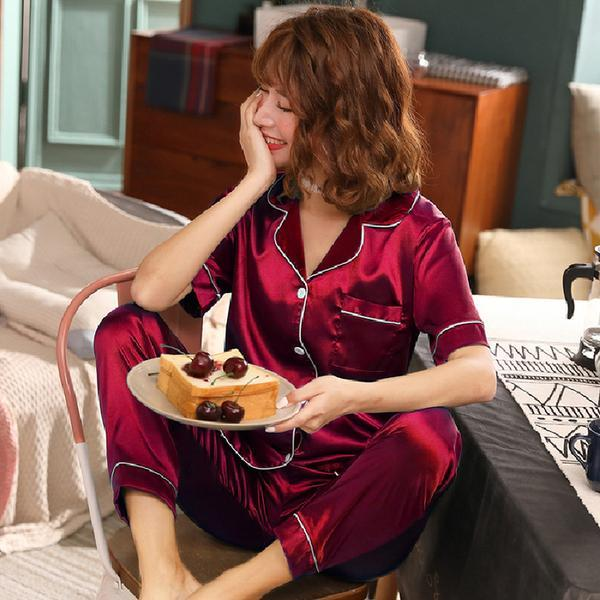 Sleepwear da uomo Elegante donna morbida manica corta pantaloni lunghi pantaloni in seta satinato vestiti in seta solido stile moda casual ragazza