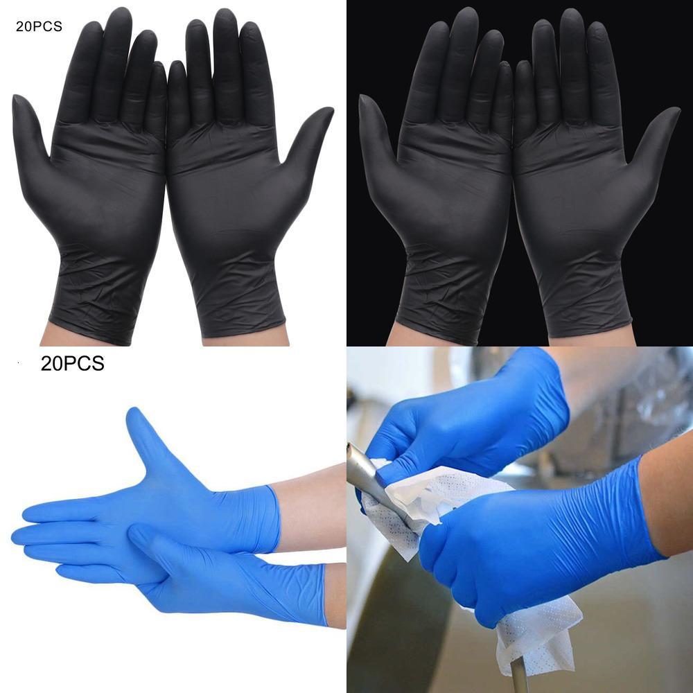 حار 20 قطع أسود / أزرق يمكن التخلص منها تنظيف المنزل اللاتكس / الغذاء / المطاط / حديقة قفازات عالمية لليد اليمنى واليمين عبر الإنترنت