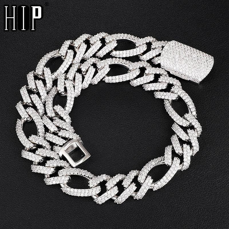 Hip Hop 18MM 2 Row Bling Iced Out Box Buckle Figaro Cuban Chain Gold Copper Setting AAA+ Cubic Zirconia Necklace For Men JewelryQ0115