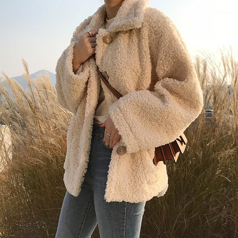 2019 новая осень зима ягненка женские женские длинные рукава густые теплые пальто женские хараджуку студент короткое пальто cc6951