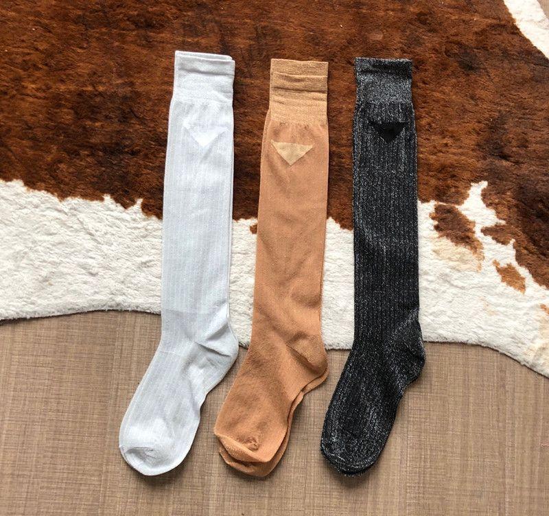 Yeni Tasarımcı Örgü Hosiery Çorap Çorap Kadınlar Için Moda Bayanlar Kızlar Streetwear Gümüş İplik Çorap Çorap Drop Shipping