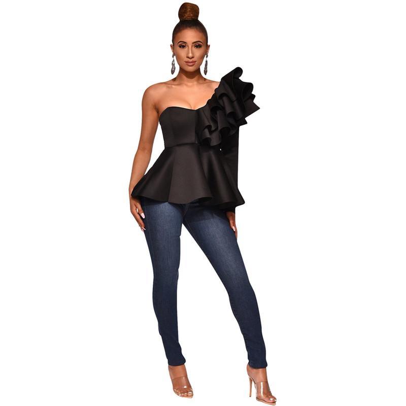 21FW SOILD Renk Bayan T Shirt Rahat Bir Omuz Uzun Kollu Ruffles Tasarımcı Bayan Giyim Tops