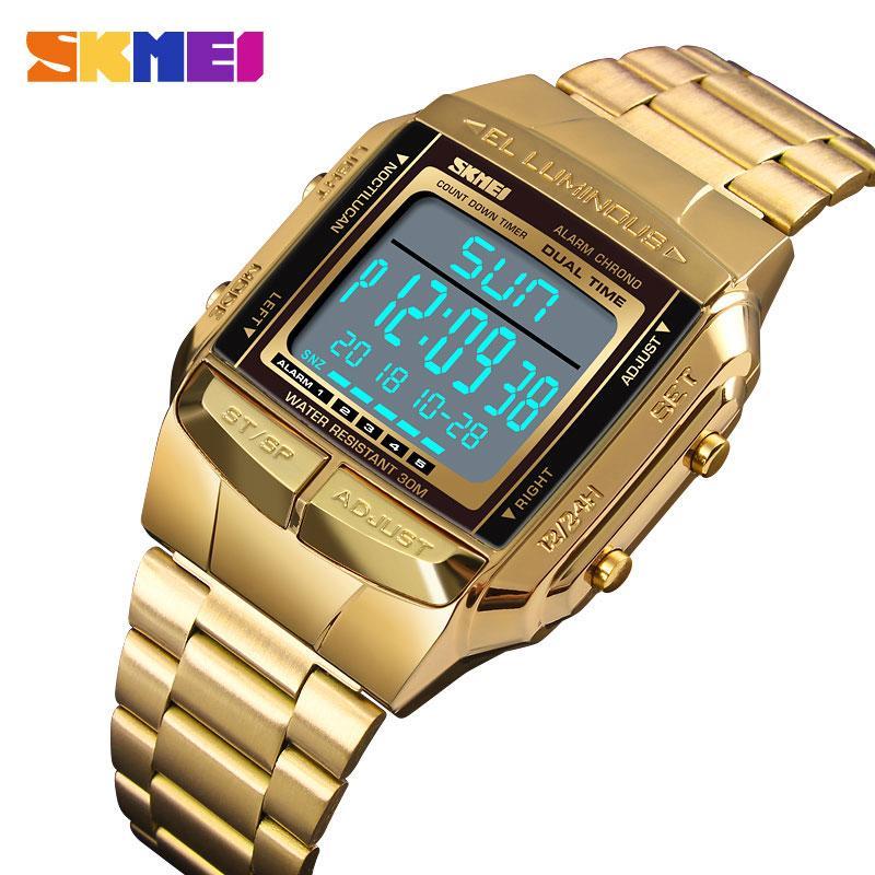 Skmei Sports Watch Golden Men's Watch LED Digital Alarma Cuenta regresiva Acero Masculino Relojes Relojes Relogio Masculina 1381