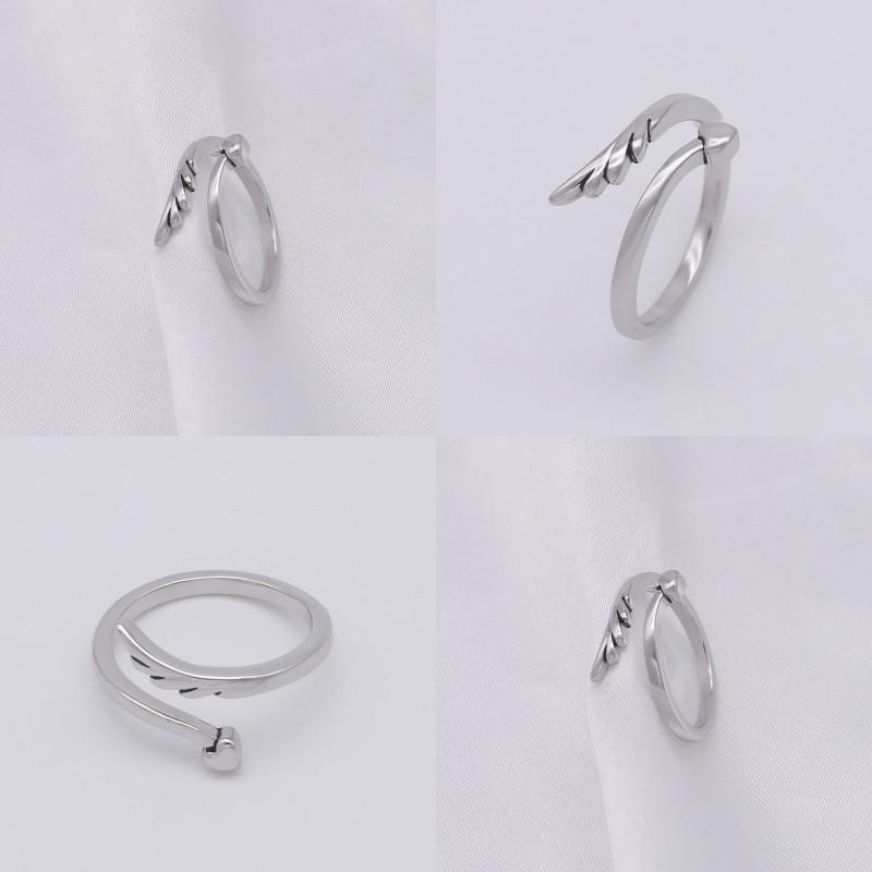 Перо любви сердца кольцо крыла ангела открытие женщин кольца медные влюбленные группы мода ювелирные изделия аксессуары новое прибытие 3 4WB P2