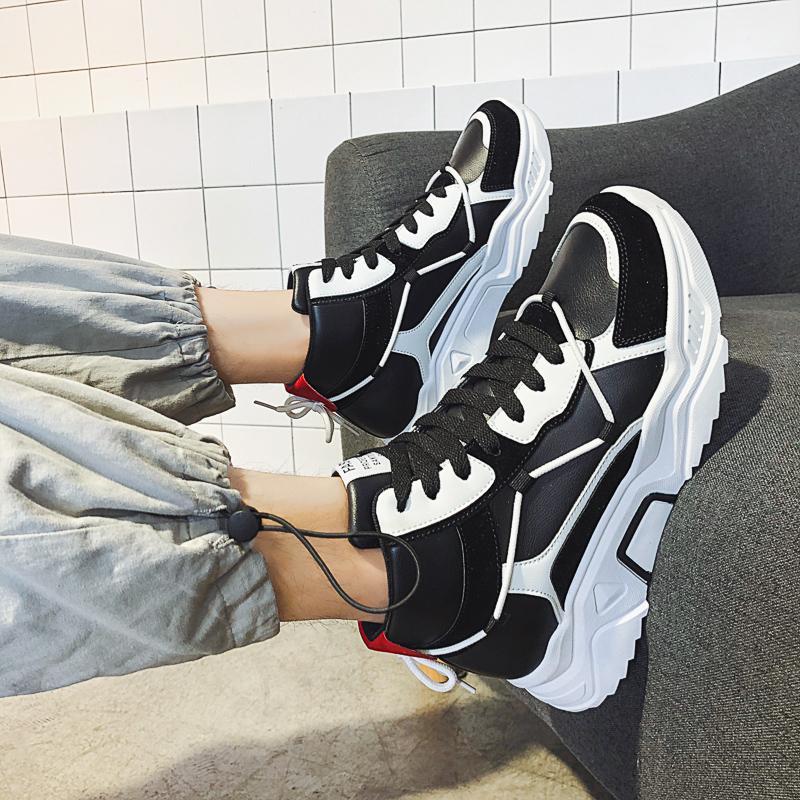 negro blanco de zapatos casual para mujer de los hombres de los hombres rojos de la plataforma zapatos de las zapatillas deportivas de piel con cordones Zapatos para caminar al aire libre Runner Trainer