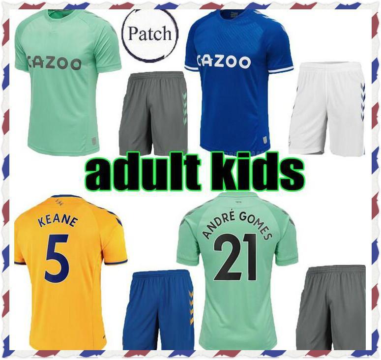 Bambini adulti Everton 2020 2021 Giallo Sigurdsson Richarlison Away Soccer Jersey Kit 20 21 Calververt-Lewin Keane Camicie da calcio Ragazzi Set completo