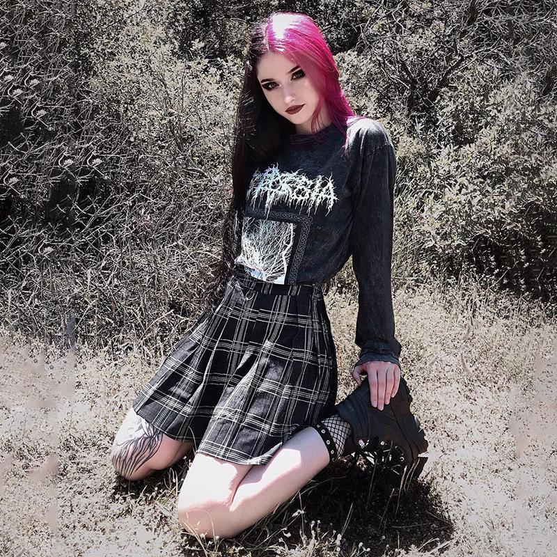 Gothblack harajuku punk solta manga longa impressão casual tshirt mulheres gothic escuro o pescoço splice rua tops inverno moda tops x1217