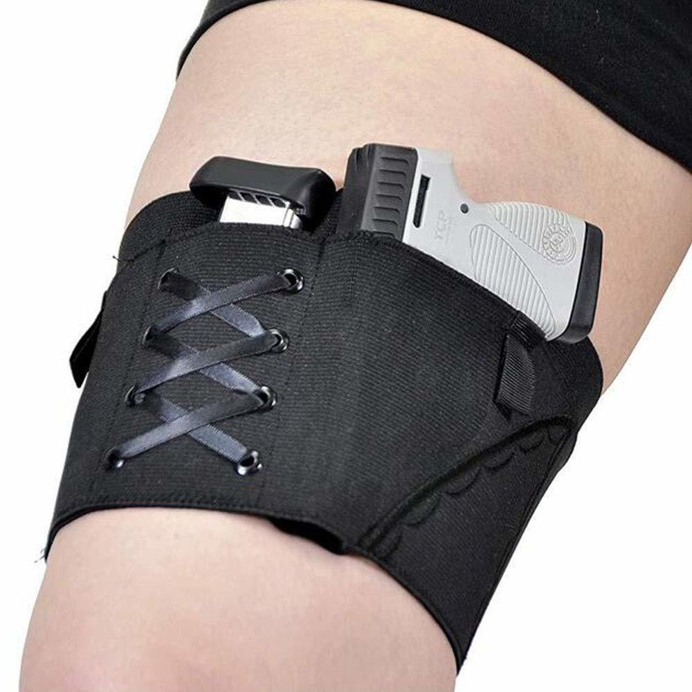 Holster jambe pour femme noire dissimulée Holster à la cuisse réglable ajustable Fermeture de profil bas de profil brodé Toile de tissu élastique brodé