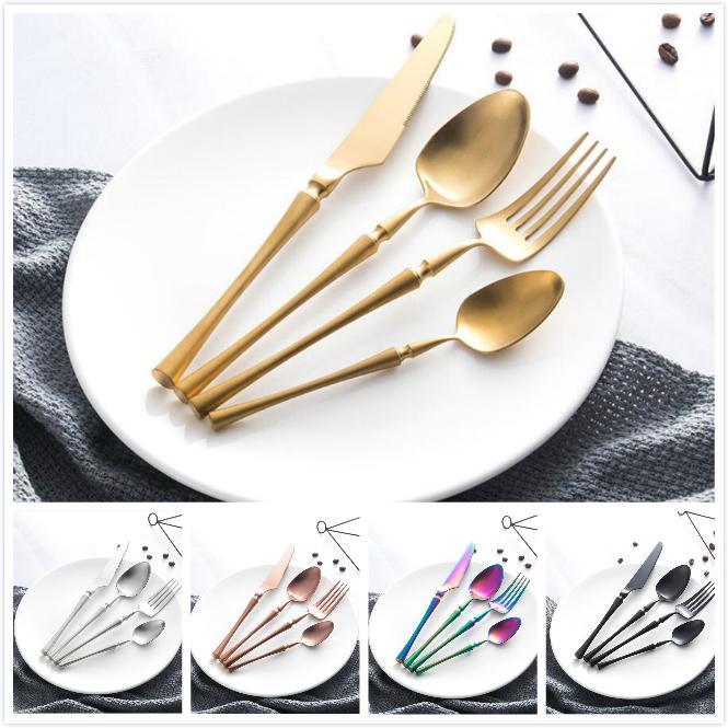 Colorido acero inoxidable vajilla pequeña cintura delicada cubiertos conjunto cuchillo cuchilla cuchara fijación vajilla comida cubiertos cocina accesorios