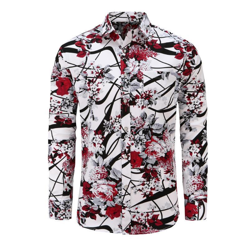 Dioufond Moda Floral Manga Longa Camisas Plus Size Flor Impresso Camisas Casuais Masculina Preto Branco Branco Camisa Masculina Vermelha