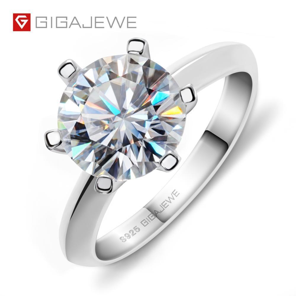 Gigajewe 3.0ct 9.0mm EF Round Round 18k Placcato oro bianco 925 anello moissanite in argento per le donne Test diamante superato il regalo di Natale di Natale 0126
