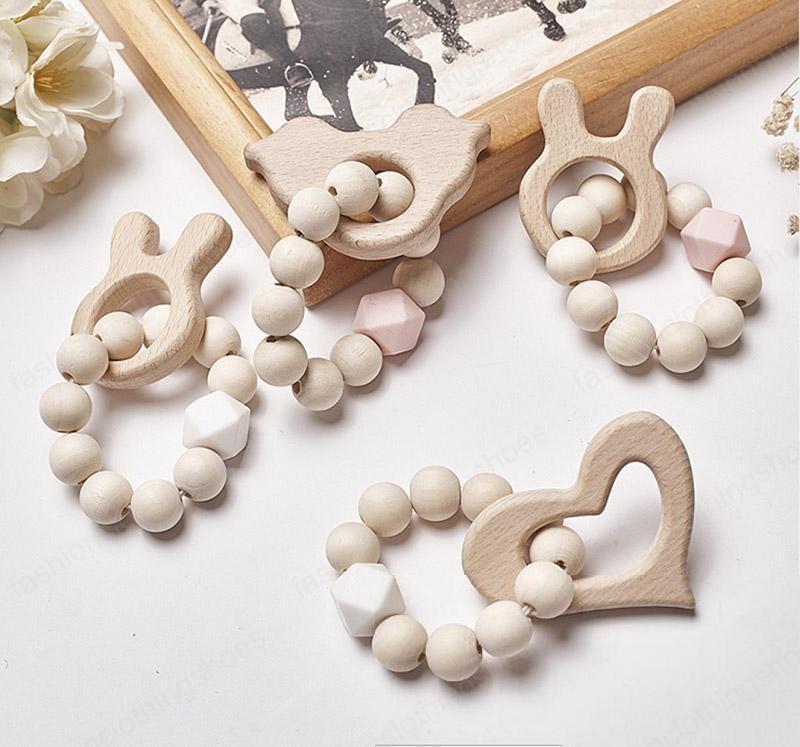 12Styles Baby Nursing Bracelets Wooden Teether Silicone Beads Teething Wood Rattles Toys Cartoon Animal Teether Bracelets Nursing Toys
