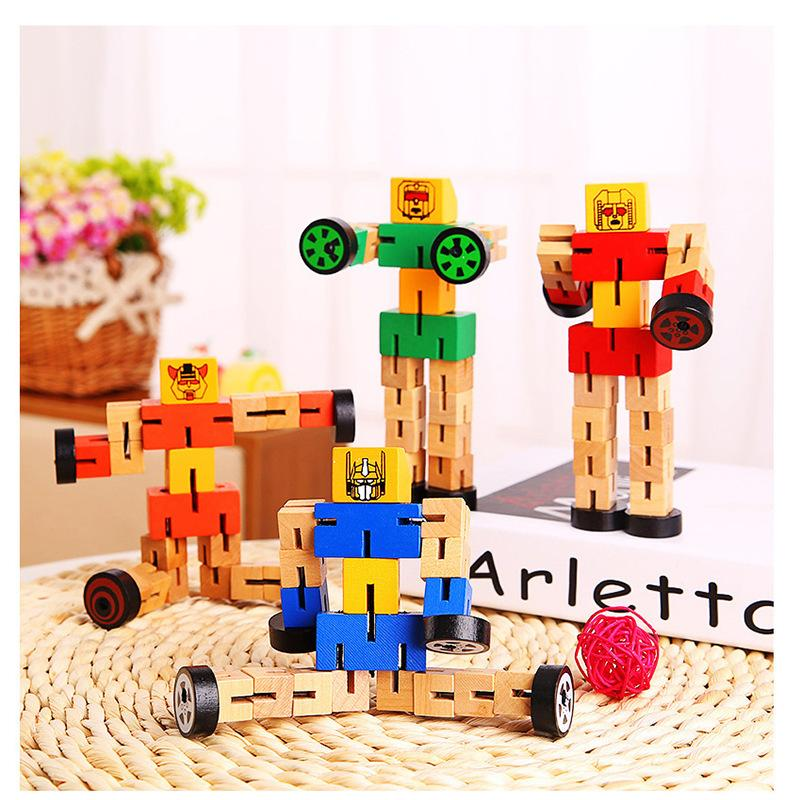 SLPF Juguetes para niños Multi función de madera Autobot de madera para jugar Modelo DIY Deformación educativa Robot Building Block Juguete