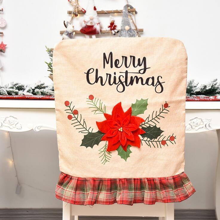 Новогодний стул чехлы Santa Claus Cover ужин стул задние крышки стулья Cap набор елочные елки автомобиль рождественских рождественских животных
