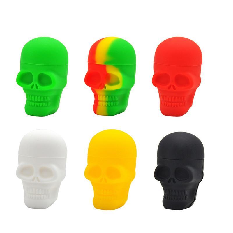 Outros acessórios para fumar Skull Forma de crânio 3ml 15ml frascos de silicone Dab cera vaporizador de óleo de borracha de óleo de borracha a caixa de ervas secas
