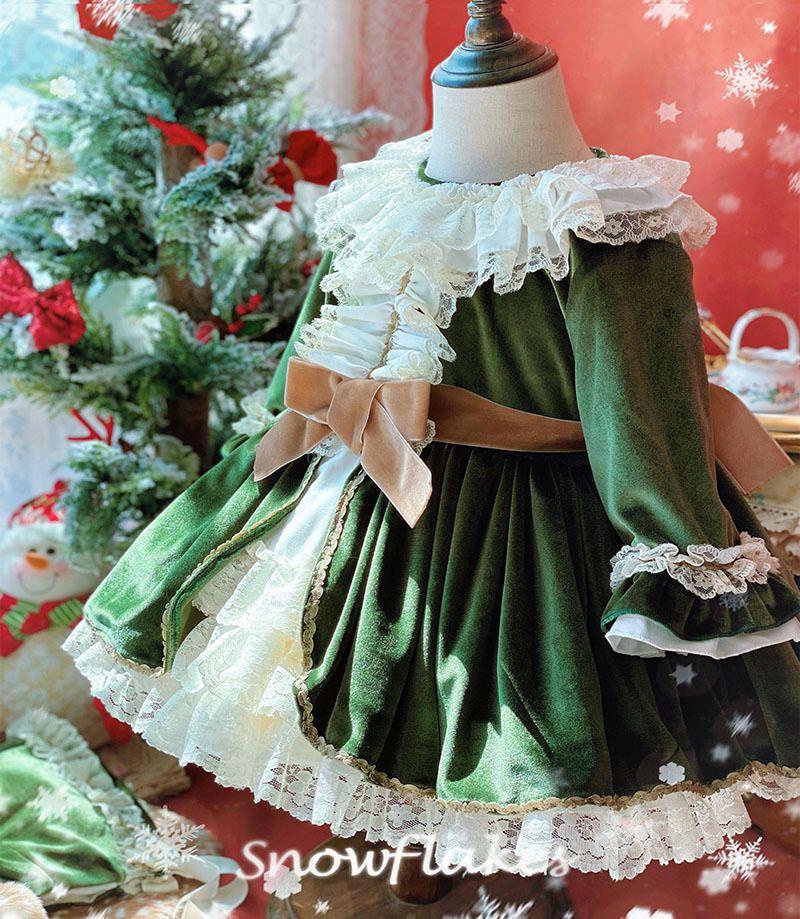 3 pcs menina do bebê outono inverno verde veludo vintage espanhol pompom bola princesa lolita vestido para o natal aniversário f1203