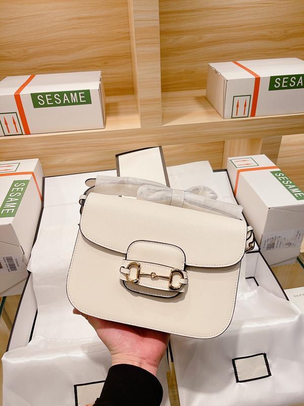 Original 2020 Fashion Sac à main Femmes Haute Qualité En Cuir Véritable 1955 Sac à selle Horsebit Tofu Boucle Bandoulière Sac Messenger Sac shopping