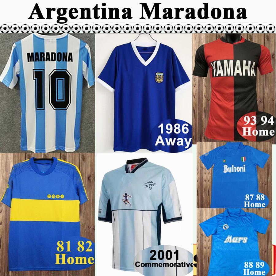 1987 1989 NAPOLI MENS RETRO SOCCER JERSEYS Argentine Maradona Home Chemise de football 1981 1982 Boca Juniors manches courtes