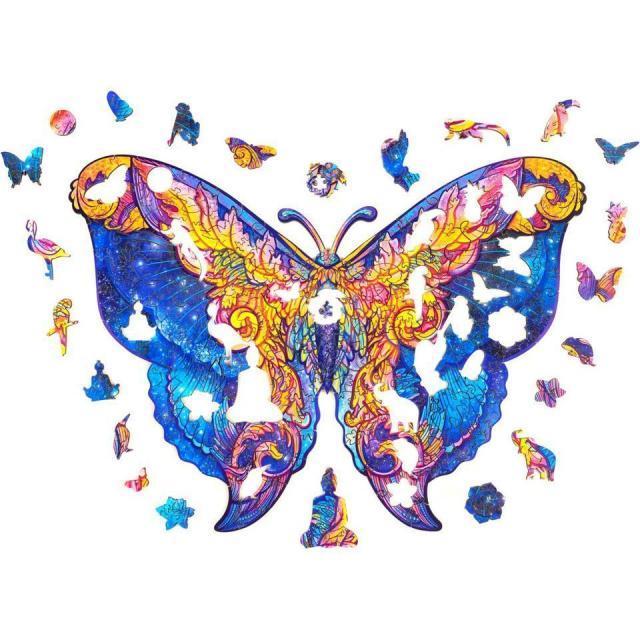 Бабочка деревянная головоломка, лучший подарок для взрослых и детей, уникальные формы Jigsaw Piece Intergalaxy Butterfly Jigsaw Puzzle