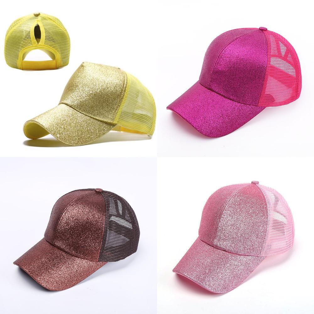 Ayarlanabilir Glitter Beyzbol Şapka Yaz Bahar Bayan Dağınık Bun At Kuyruğu Kapaklar Mesh Snapback Plaj Spor Visor Ponycaps Trucker Şapka HH2304