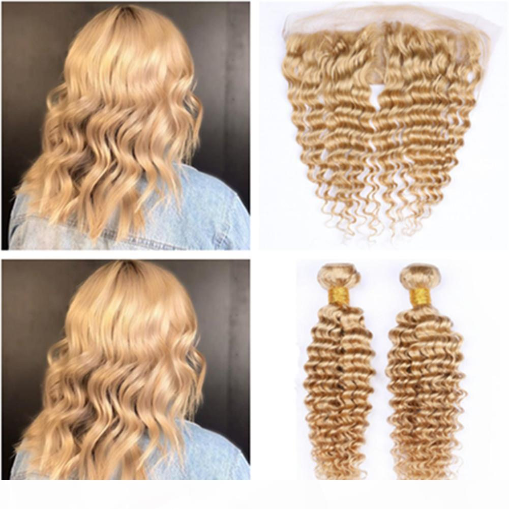 Peruvian Human Hair Honey Blonde 2Bundles Deep Wave with Frontal Closure #27 Light Brown Deep Wavy 13x4 Lace Frontal Middle Part with Weaves