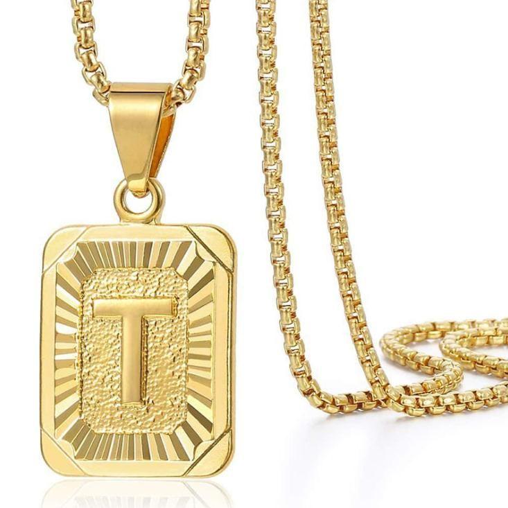 Tyrant Gold Hip Hop Square Письмо Подвеска Ожерелье Капитал Инициализы Имя Подвеска 20 дюймов Жемчужное Ожерелье Титановые Стальные Украшения
