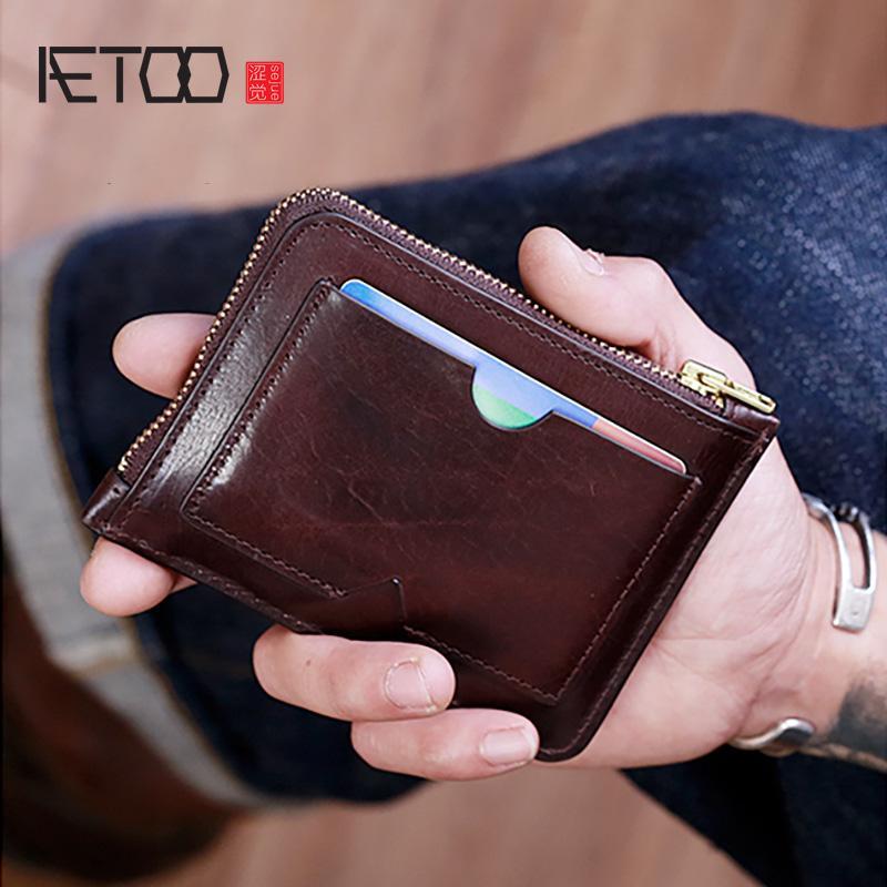 HBP Aetoo ultradünne Diebstahltiebstahl-Kartentasche, männliches Leder do-Kartenkarten-Tasche, kleiner Lizenztasche mit großem Kapazität