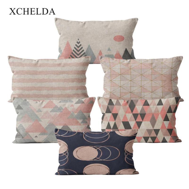 Jetez taie d'oreiller coton rose taie d'oreiller rose scandinave géométrique 30 * 50 pour salle de canapé à la chambre beige housse de coussin de fourrure de fourrure beige