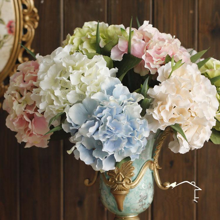 Black Friday European Silk Hydrangea Flowers Artificial Single Hydrangeas for Wedding Party Festival Home Decorative Flowers