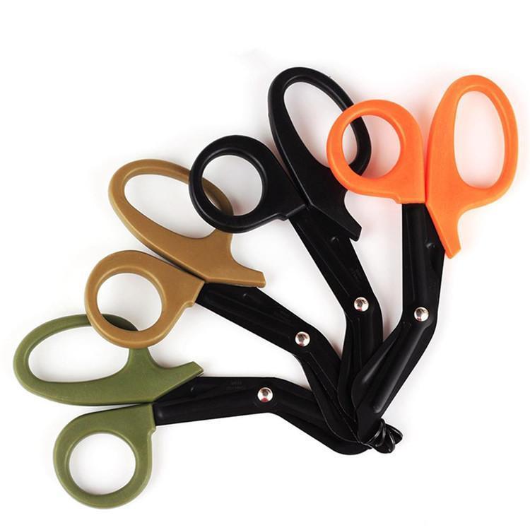 Engrenage tactique sauvetage ciseaux traumatisme jaune jaune de premiers secours ciseaux coupé cordon découpé cordon extérieure classique scissor wq183