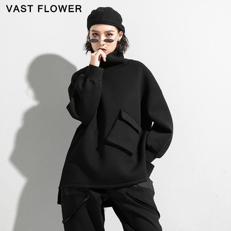 Turtleneck noir Sweatshirt Femmes épaissir Split Manches longues Pullover Poches 2020 Nouveau automne Hiver Fashion Casual Vêtements lâches