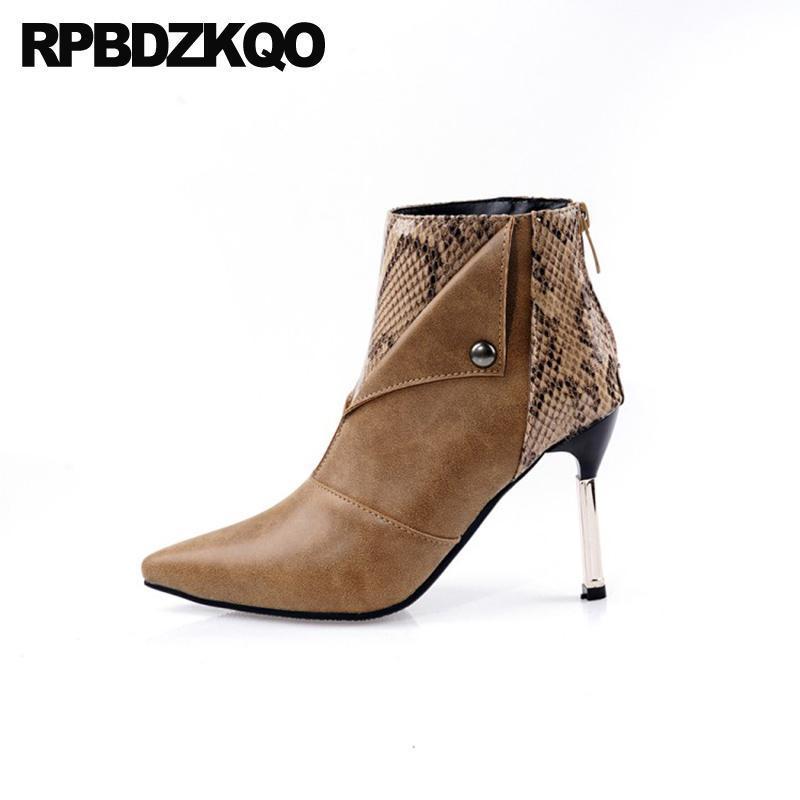 High Heel Snake Metal 13 45 Brown Stiletto Mulheres Botas Inverno 2020 Big Size Sapatos Moda Pontilhada PLUS 12 44 ARKLE Snakeskin