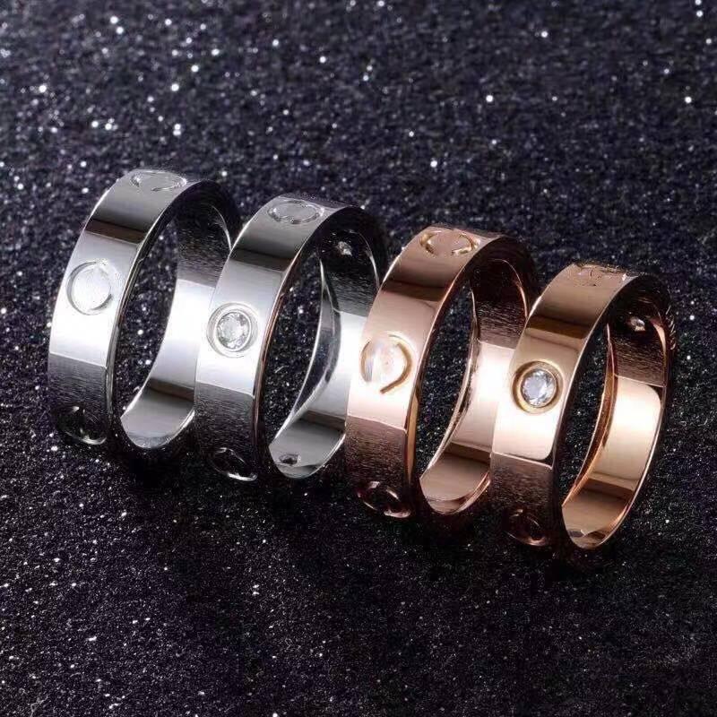 amor anillo de tornillo anillos para hombre clásico lujo diseñador joyería mujer titanio acero aleación oro chapado en oro plata rosa nunca se desvanecen alérgico -4 / 5 / 6mm