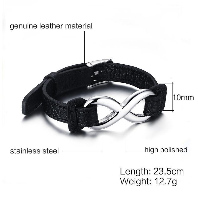 Infinity Leder Herren Handgemachtes Manschettenarmband Justierbarer Schmucksei7z
