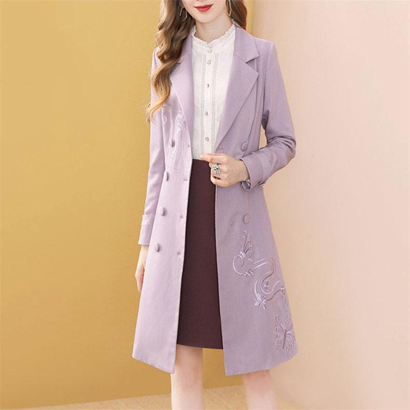 Ünlü Tasarım Lüks Bayan Trençkot Moda Çok Yönlü Mor İşlemeli Lady Coats