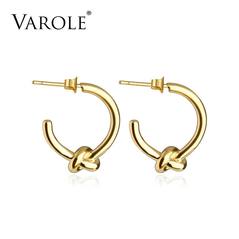 Varle بالجملة الكلاسيكية عقدة الخواتم جولة الذهب لون أقراط للنساء مجوهرات Oorbellen ohrringe حلق brincos