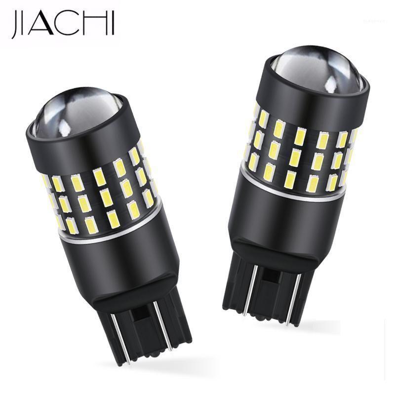 Lumières de secours Jiachi 100pcs Auto Lampadaire Auto Lampe de frein Inverser des ampoules en gros T20 7440 7443 W21W W21 / 5W 3014 -54W SMD Blanc Amber Re