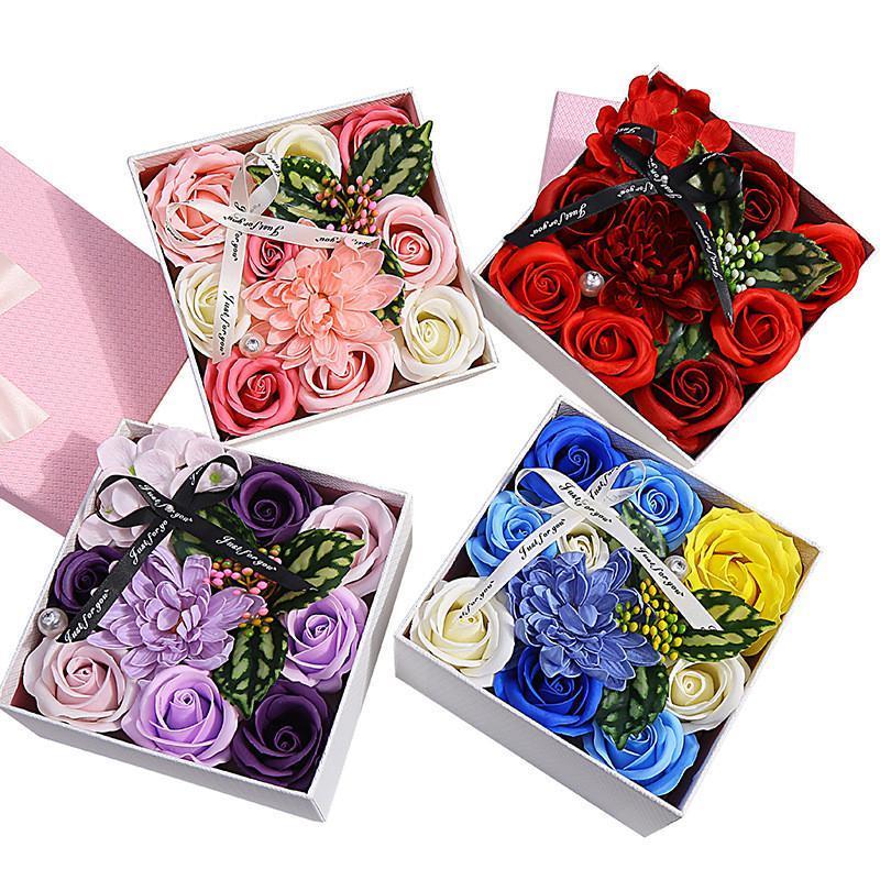 1 stück Blume Seife Badkörper Floral Seifen Wesentliche Hochzeit Valentinstag Geschenk Holding Blumen Sonnenblume Geschenkbox für Freundin
