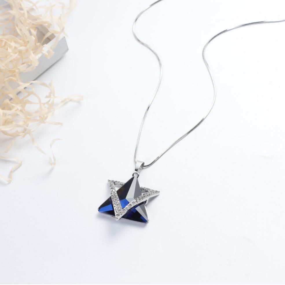 Camisola colar triângulo cinza azul vidro pingente de liga de liga de cristal configuração de prata banhado a longa corrente