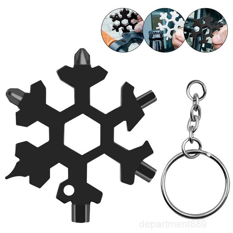 18 in 1 Camp Key Ring Pocket Tool Multifunktionswanderung Schlüsselanhänger MultipurPoser Überleben Outdoor Opener Schneeflocke Multi Spanche SEX WRENCH OWF2442