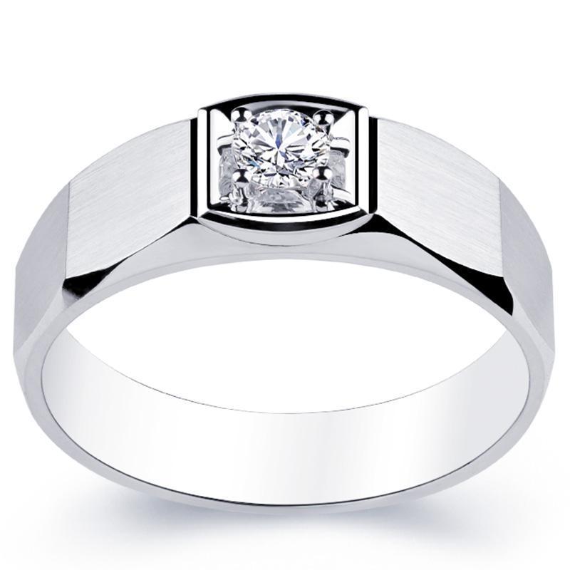 18K AU750 Anello in oro bianco Uomo Anniversario di nozze Anniversario di fidanzamento Anello Partito Round Moissanite Diamond Casual Sporty Trendy classico
