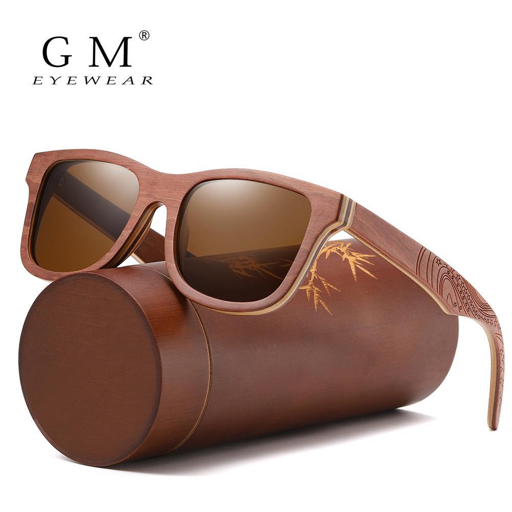 Gm retrô skate marrom óculos de sol homens homens bambu mulheres sunglass marca espelho uv400 quadrado sol masculino máscaras óculos